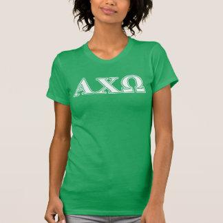 Alphiのキーオメガの白いおよび緑の手紙 Tシャツ