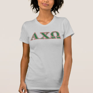 Alphiのキーオメガの緑および赤い手紙 Tシャツ