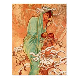 Alphonsのミュシャ- 4季節-冬 ポストカード
