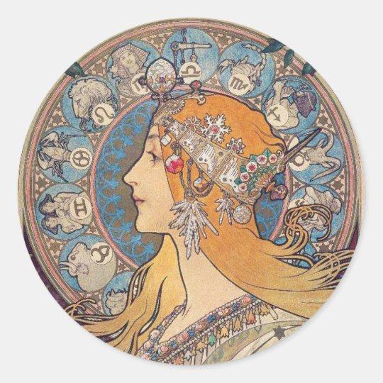 """Alphonse Mucha , """"Zodiac"""" ラウンドシール"""