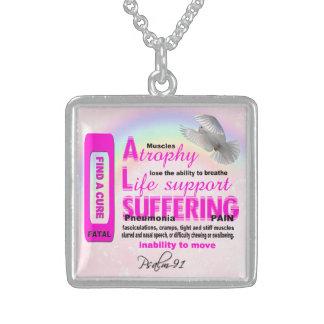 ALSの大きいスライバネックレス スターリングシルバーネックレス