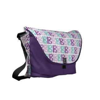 ALTOクレフ、音符記号-紫色およびティール(緑がかった色) メッセンジャーバッグ