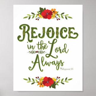 Always Philippians主の4:4ポスターで喜ばせて下さい ポスター