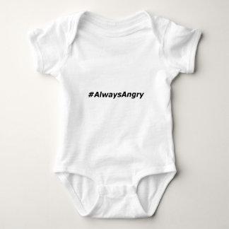 #AlwaysAngryロゴ黒い ベビーボディスーツ