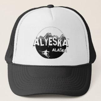 Alyeskaアラスカの白黒のテーマのスキーヤーの帽子 キャップ