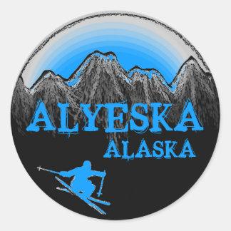 Alyeskaアラスカの青いスキーヤーのステッカー ラウンドシール