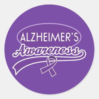Alzheimerの紫色のリボンのステッカーのシール ラウンドシール