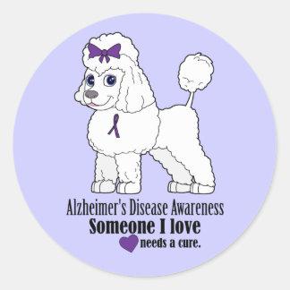 Alzheimerの認識度: 紫色のリボンの希望のプードル ラウンドシール
