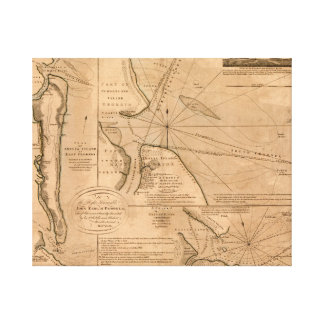 Amelia Island、フロリダ1770の地図 キャンバスプリント