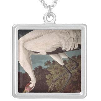 「Americaの鳥からのアメリカシロヅル、 シルバープレートネックレス