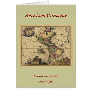 Americamのutramque -北及び南アメリカの地図 カード