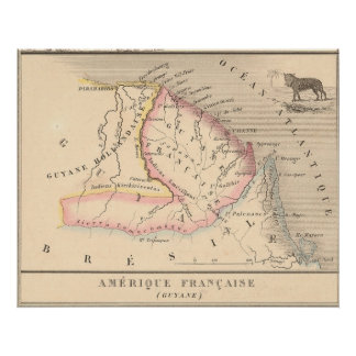 Amerique Francaise (Guyane)の1858地図、ガイアナ ポスター