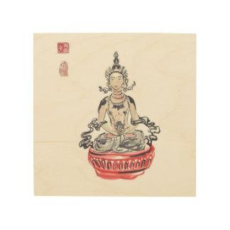 Amitayus仏の壁の芸術のめい想 ウッドウォールアート