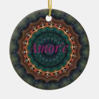 Amor'eの男女兼用な緑のマゼンタの曼荼羅 陶器製丸型オーナメント