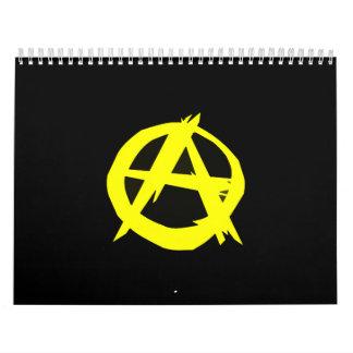 Anarchoの資本主義の黒いおよび黄色旗 カレンダー