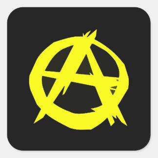 Anarchoの資本主義の黒いおよび黄色旗 スクエアシール