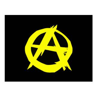 Anarchoの資本主義の黒いおよび黄色旗 ポストカード