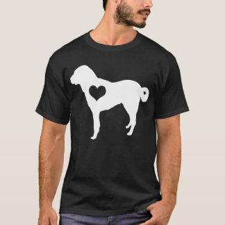 Anatolian羊飼い犬のハートメンズ暗闇のTシャツ Tシャツ