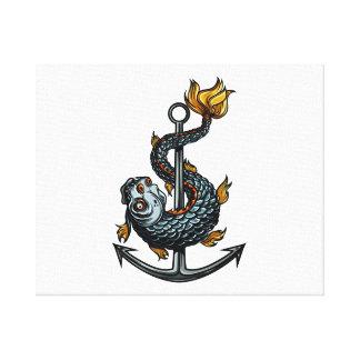 anchor.pngのまわりの歯付き魚 キャンバスプリント