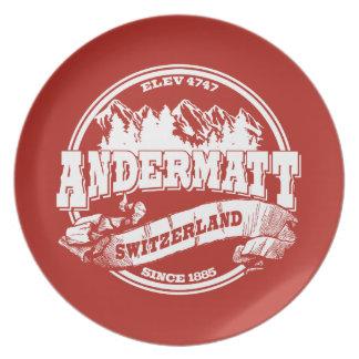 Andermattの古い円の赤 プレート