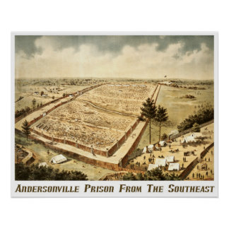 Andersonvilleの刑務所(キャンプSumter)、空中写真 ポスター