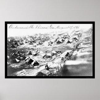 Andersonvilleの刑務所、GA 1864年 ポスター