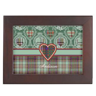 Andisonの一族の格子縞のスコットランドのキルトのタータンチェック 宝石箱