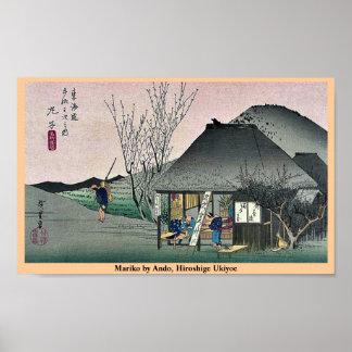 AndoのHiroshigeの浮世絵著Mariko ポスター