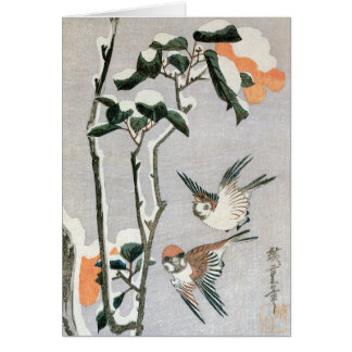 Ando Hiroshige著雪のすずめそしてツバキ カード