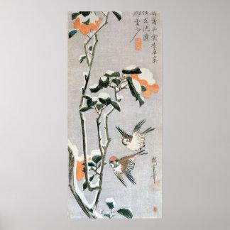 Ando Hiroshige著雪のすずめそしてツバキ ポスター