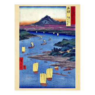 Ando、Hiroshige著Mogami川およびGassan山 ポストカード