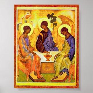 Andrei Rublev著聖三位一体。 素晴らしい絵画のtitl ポスター