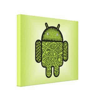 Android™のロボットのための泡落書きのキャラクター キャンバスプリント