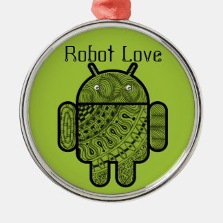 Android™のロボットのためのPanchoの落書きのキャラクター メタルオーナメント