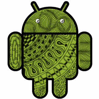 Android™のロボットのためのPanchoの落書きのキャラクター 写真彫刻(台付き)