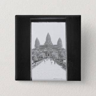Angkorカンボジア、アンコール・ワットの戸口の眺め 5.1cm 正方形バッジ