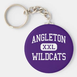 Angleton -山猫-高等学校- Angletonテキサス州 ベーシック丸型缶キーホルダー