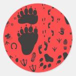 animal box footmark 丸形シール・ステッカー