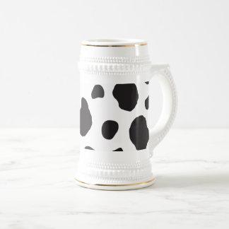 Animal Print, Cow Pattern, Cow Spots - White Black ビールジョッキ