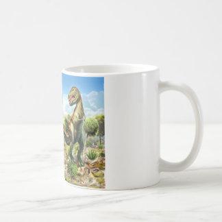 Anklosaurusを戦っている恐竜およびティラノサウルス・レックス コーヒーマグカップ