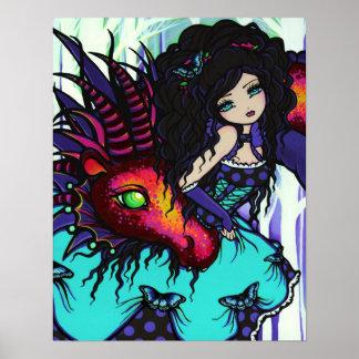 Annabelle及びJaxの妖精のプリンセスのドラゴンのファンタジーの芸術 ポスター