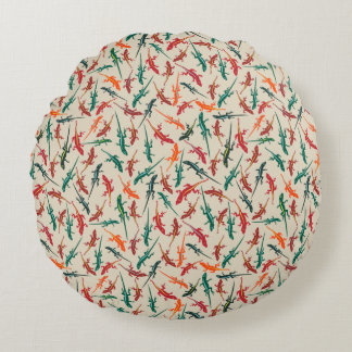 Anoleのトカゲの赤い緑のオレンジパターン ラウンドクッション