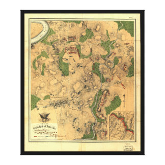 Antietam 1862年の戦場の内戦の地図 キャンバスプリント