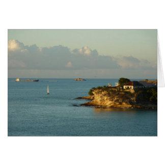 Antiguanの海岸の美しい島の海景 カード