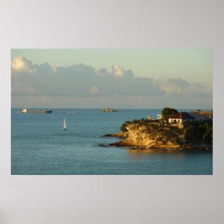 Antiguanの海岸の美しい島の海景 ポスター
