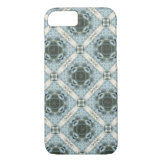 Antique Abstract Shapes Blue Floral Kaleidoscope iPhone 8/7ケース
