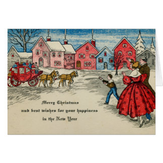 Antique Christmas Vintage New Year Carriage カード