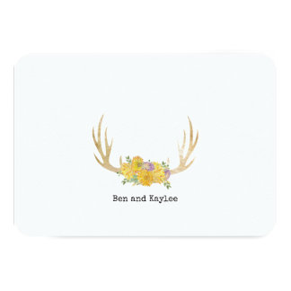 Antlers with BoHo Flowers Personalized Thank You カード