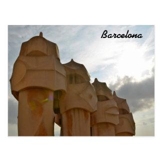 Antonio Gaudiの煙突の郵便はがき、バルセロナ ポストカード