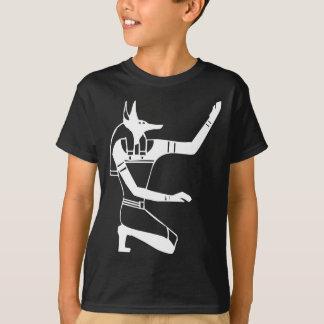 Anubisのエジプトのヒエログリフ Tシャツ